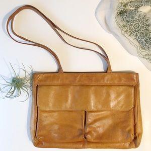 Vintage Choas Leather Tote Bag Shoulder Strap Zip